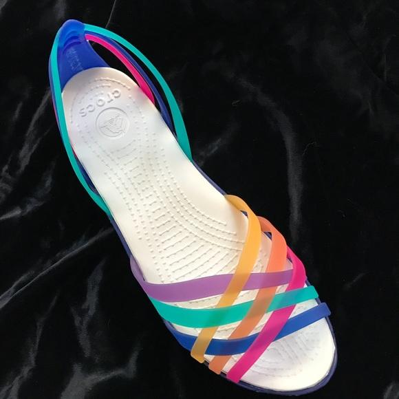 bf99490a469cb Crocs Rainbow Huarache Flat Colorful Sandals 7